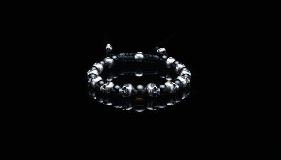Браслет Череп черный (агат и раухтопаз)