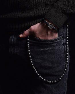Цепь на джинсы серебро агат