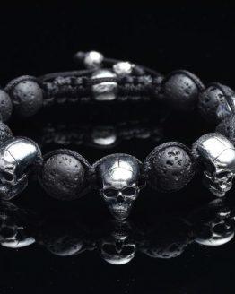 Браслет Черепа черный (лава вулкана)