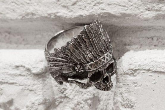 Кольцо «Череп индеец», с нижней челюстью