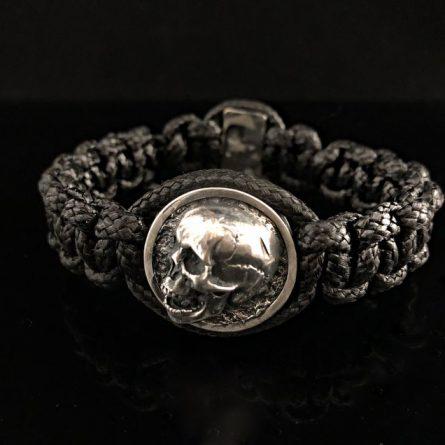 Браслет плетеный череп 3-4 серебро