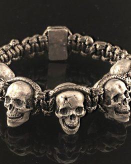 Браслет с 5 черепами серебро