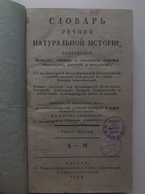 Словарь ручной натуральной истории. Часть 1. 1788